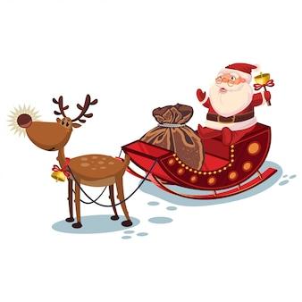 Święty mikołaj w saniu z reniferem i worek z prezentami. wektor boże narodzenie postać z kreskówki