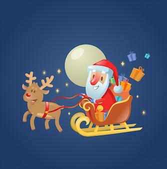 Święty mikołaj w swoich świątecznych saniach ze swoim reniferem po księżycowym niebie. ilustracja. na białym tle.