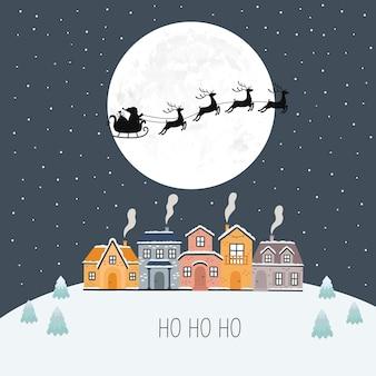 Święty mikołaj w zimową noc bożego narodzenia. ilustracja wektorowa. kartka z życzeniami