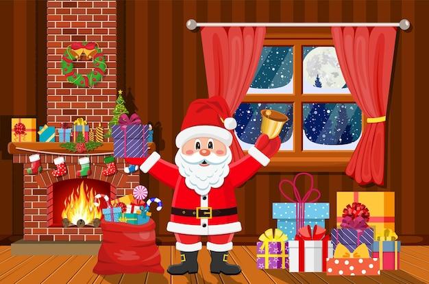 Święty mikołaj we wnętrzu pokoju bożonarodzeniowego