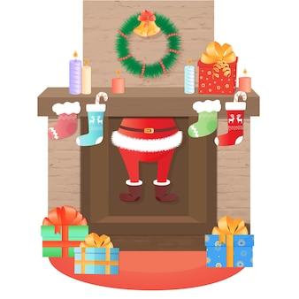 Święty mikołaj wychodzi z kominka. dekoracja świąteczna.