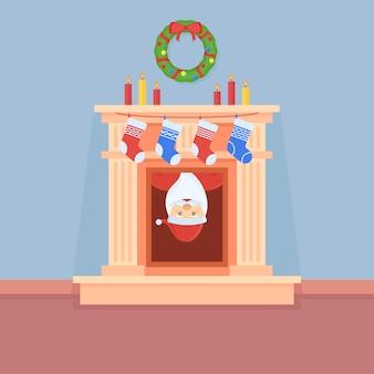 Święty mikołaj wygląda z kominka. wnętrze pokoju z dekoracjami świątecznymi.