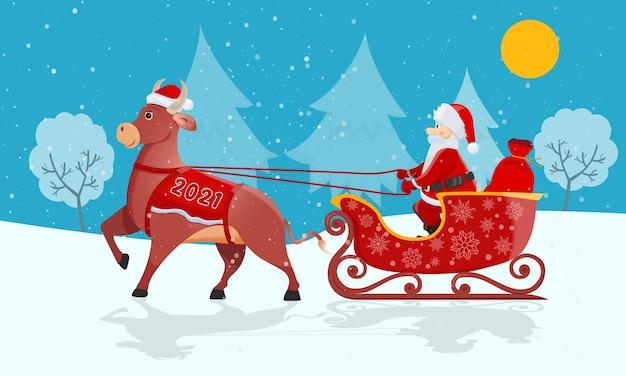 Święty mikołaj z czerwoną torbą jeździ na wielkich saniach byków na boże narodzenie na zimowej naturze.