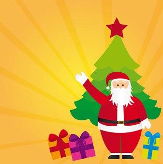 Święty mikołaj z drzewa i prezenty żółte tło wektor