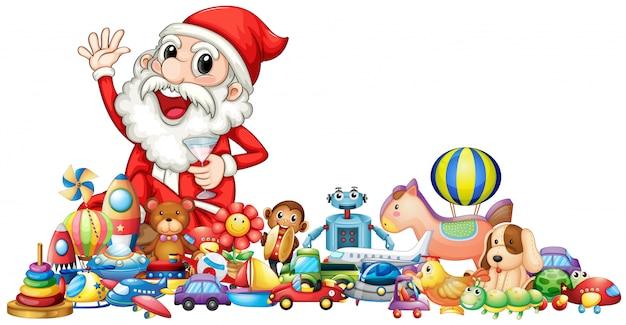 Święty mikołaj z dużą ilością zabawek