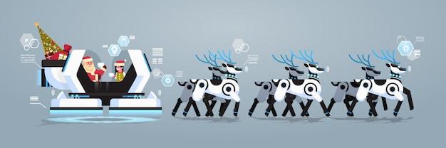 Święty mikołaj z elfem w robotycznym nowoczesnym saniu ze sztuczną inteligencją reniferów robotów na boże narodzenie