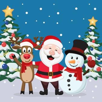 Święty mikołaj z jelenia i bałwana na tle zimowego krajobrazu. kartka świąteczna.