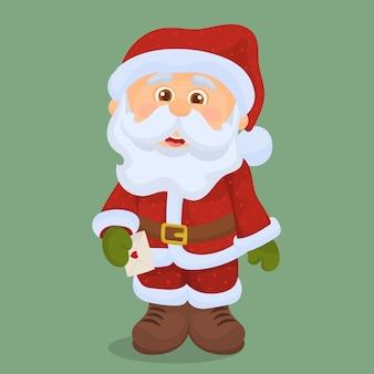 Święty mikołaj z listem świątecznym