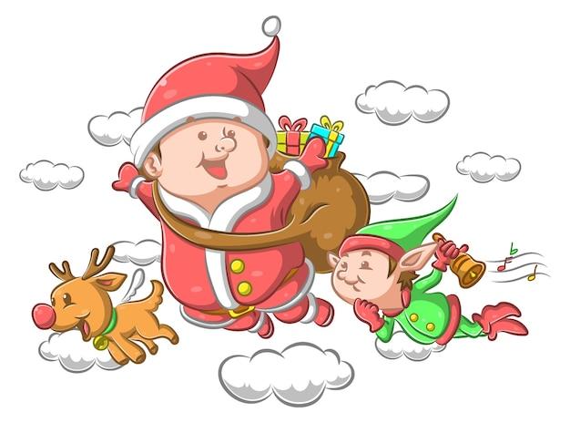 Święty mikołaj z małym elfem leci za wręczenie prezentu dzieciom