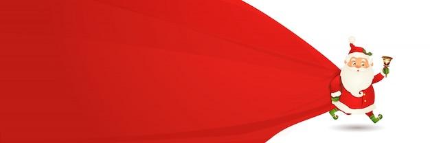 Święty mikołaj z ogromną, czerwoną, ciężką torbą z prezentami na białym tle. szczęśliwy postać z kreskówki świętego mikołaja