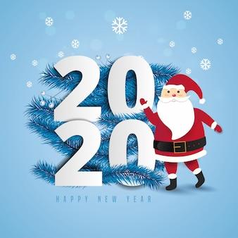 Święty mikołaj z ogromną torbą na spacerze doręczeniowi boże narodzenie prezenty przy spadać śniegiem2020 i szczęśliwego nowego roku teksta literowania ilustracją.