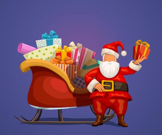 Święty mikołaj z prezentem i saniami