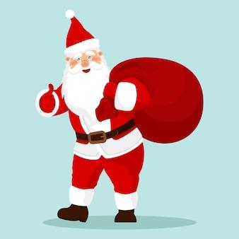 Święty mikołaj z prezentem, worek z prezentami na kartki świąteczne, banery, metki i etykiety.