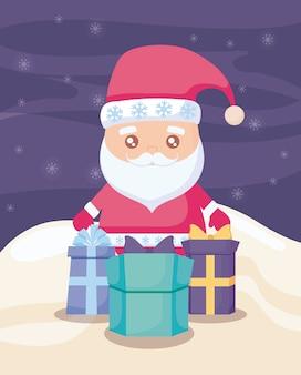 Święty mikołaj z prezentów pudełkami na zima krajobrazie