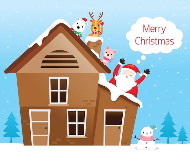 Święty mikołaj z przyjacielem, reniferem, niedźwiedziem i kotem szczęśliwy na dachu domu