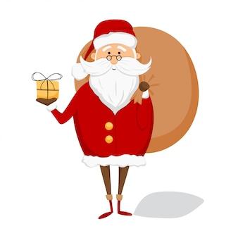 Święty mikołaj z torbą i prezentem na białym tle. wesołych świąt i szczęśliwego nowego roku