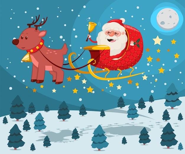 Święty mikołaj ze złotym dzwonkiem w saniu z reniferami latającymi nad zimowym krajobrazem nocy.