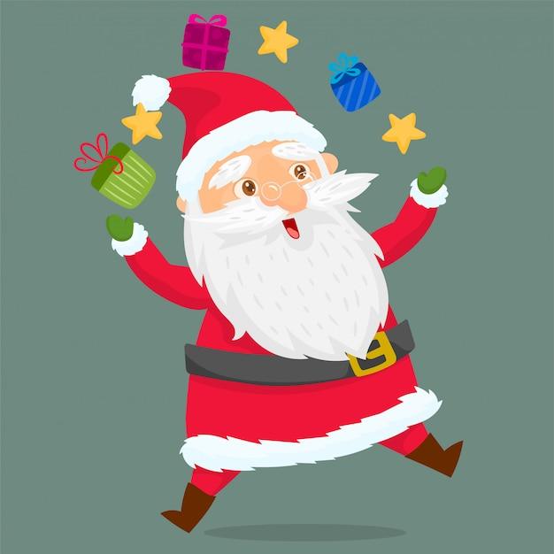 Święty mikołaj żongluje świątecznymi prezentami