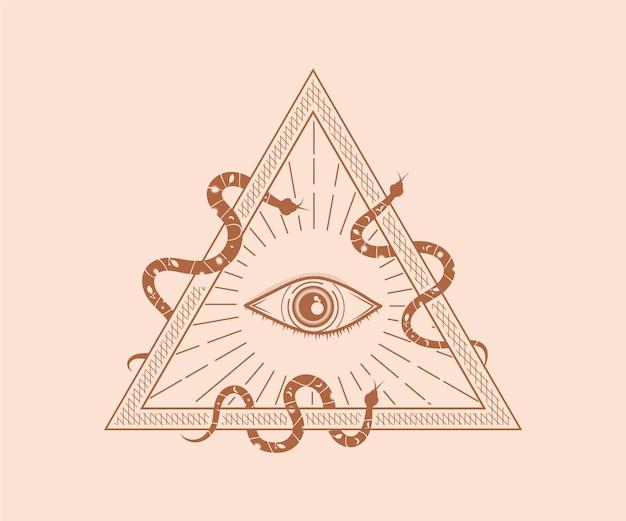 Święty mistyczny bóg wszystko widzące oko iluminaci symbol ilustracja święta geometria tatuaż blizna drukuj