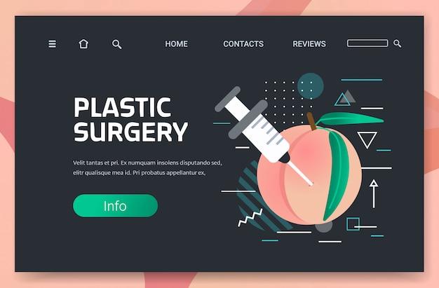 Świeża brzoskwinia ze strzykawką iniekcji kwasu hialuronowego medyczna kosmetyczna procedura przeciwstarzeniowa chirurgia plastyczna koncepcja poziome miejsce
