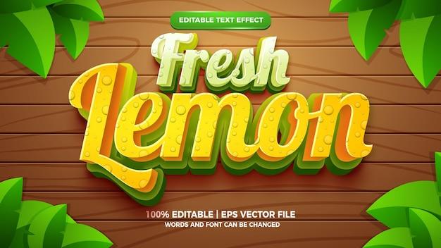 Świeża cytryna 3d edytowalny styl szablonu efektu tekstowego