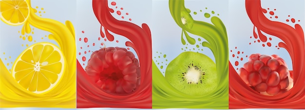 Świeża cytryna owocowa, malina, kiwi, granat. spryskać sokiem na słodkie owoce.