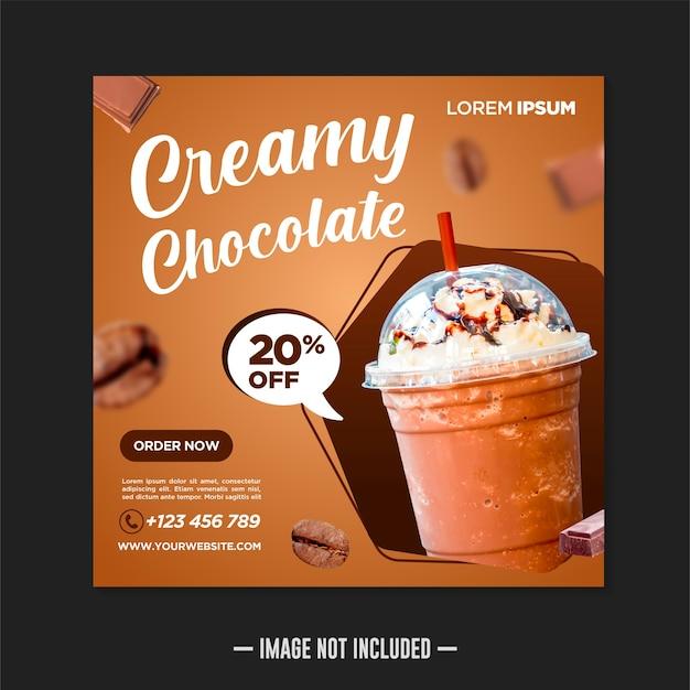 Świeża czekolada napój szablon projektu banera mediów społecznościowych