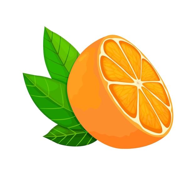 Świeża dojrzała pomarańcza. połówka owoców z liśćmi. ilustracja w stylu płaskiej.
