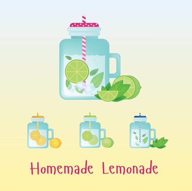 Świeżą domową lemoniady w zabytkowej butelce. ilustracji wektorowych. pij znak. z kranem na przyjęcie