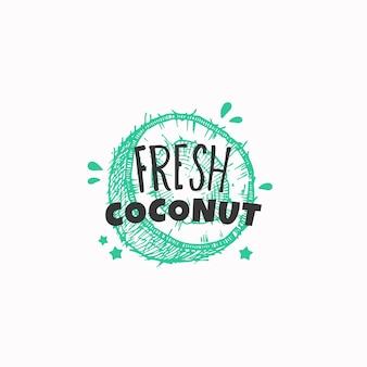 Świeża etykieta kokosowa lub szablon logo ręcznie rysowane szkic owoców z zabawną typografią premium e...