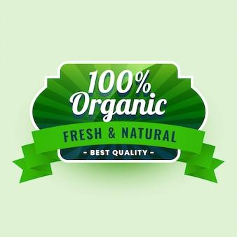Świeża i naturalna naklejka z etykietą 100% żywności ekologicznej