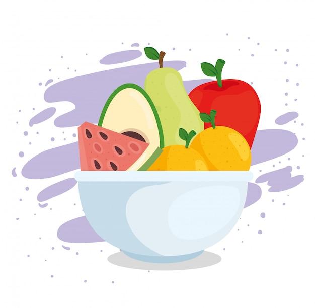 Świeża i zdrowa żywność, miska z owocami i awokado