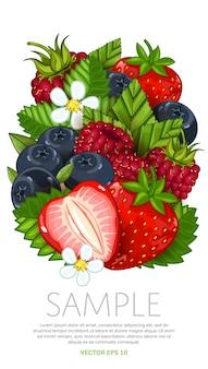 Świeża jagody mieszanka odizolowywająca, wektorowa ilustracja