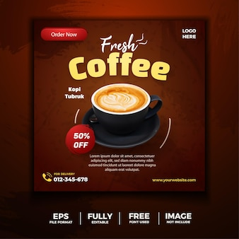 Świeża kawa menu social media tamplate