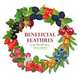 Świeża naturalna jagoda wieniec dekoracyjne ramki