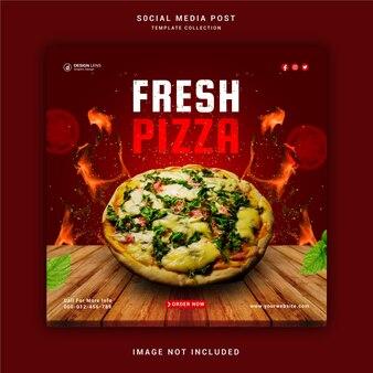 Świeża pizza w mediach społecznościowych