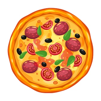 Świeża pizza z różnymi składnikami pomidor, ser, oliwka, kiełbasa, bazylia. tradycyjne włoskie fast foody