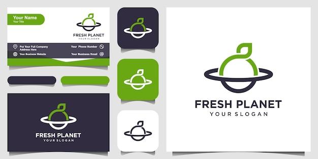 Świeża planeta z logo w stylu linii sztuki i projekt wizytówki
