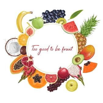 Świeża soczysta kolekcja tropikalnych owoców