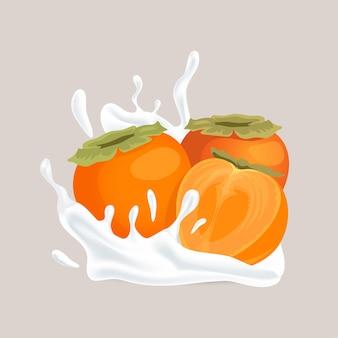 Świeża, soczysta persimmon w całości i w połowie pokrojona w plasterki i plusk