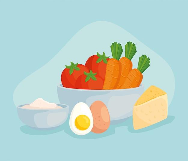Świeża żywność, warzywa na misce i zdrowa żywność