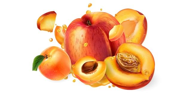 Świeże brzoskwinie i morele oraz krople soku owocowego.