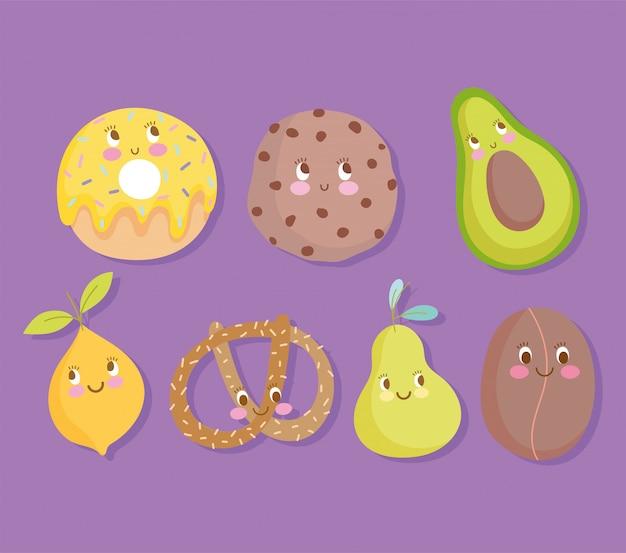 Świeże ciasteczka pączek awokado gruszka cytryna i precel kreskówka ikony ilustracji wektorowych