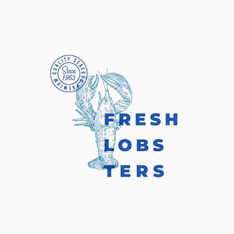 Świeże homary streszczenie znak, symbol lub szablon logo. ręcznie rysowane siwy lub homara z klasyczną nowoczesną typografią. godło vintage owoce morza. odosobniony.