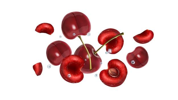Świeże jagody wiśni rozpraszają się w przestrzeni z kroplami wody. realistyczna ilustracja.