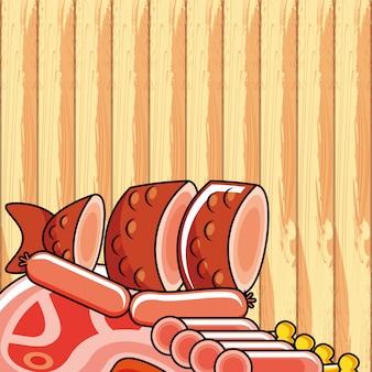 Świeże kiełbaski ustawić ikony żywności