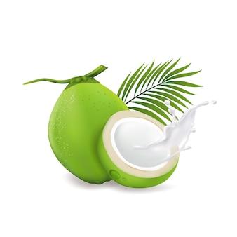 Świeże kokosy na białym tle