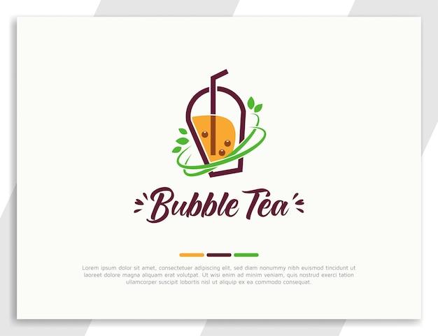 Świeże logo herbaty bąbelkowej z zielonymi liśćmi