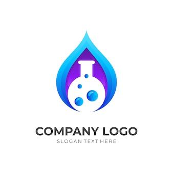 Świeże logo laboratorium, woda i butelka, logo kombinacji w stylu 3d w kolorze niebieskim i fioletowym