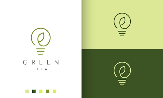 Świeże logo pomysłu w prostym i nowoczesnym stylu z żarówką i kształtem liścia